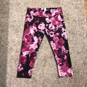 FABLETICS Pink and Purple Floral Cropped Leggings